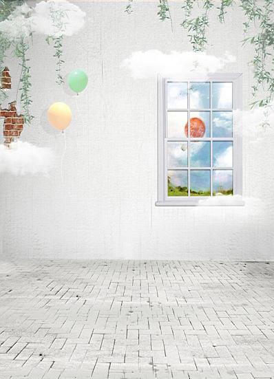 Фотография 600CM*300CM(20ft*10ft)  Fundo  Balloon landscape outside the window photography backdrop background  AY 3293
