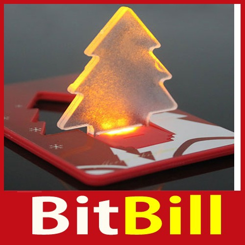 bitbill Folding Pocket LED Card Light Lamp Bulb Christmas Tree Worldwide free shipping(China (Mainland))