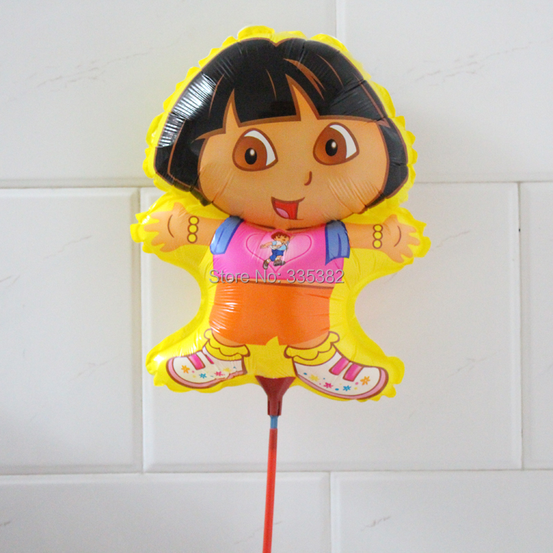 wholesale 100pcs/Lot 28*39cm DORA balloons with stick for kid birthday party air balloon(China (Mainland))