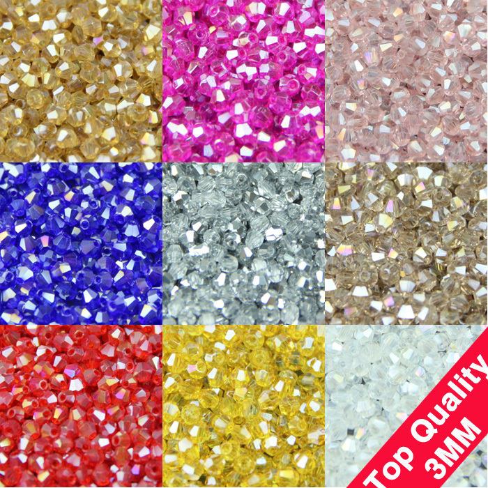 TOP quality 3mm 200pcs AAA Bicone Upscale Austrian crystals beads loose ball supply AB color plating bracelet Jewelry Making DIY()