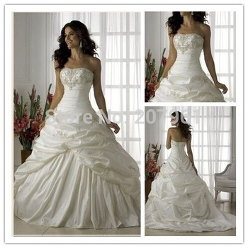 A-line White Wedding Dresses 2015 Sweetheart Taffeta with Embroidered Vestidos de Noiva Wedding gowns Court train 01