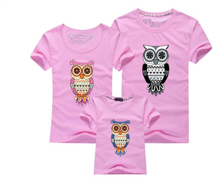 New 2016 Summer Family Matching Outfits Children's Clothing Baby Girl Boy Printed Owl Cotton Short Sleeve kids T-Shirt(China (Mainland))