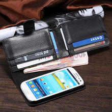PU Leather Cover Case for Samsung Galaxy SIII S3 I9300 Card Insert Mobile Phone Bag Folded Wallet Lychee Pattern Purse RCD03771(China (Mainland))