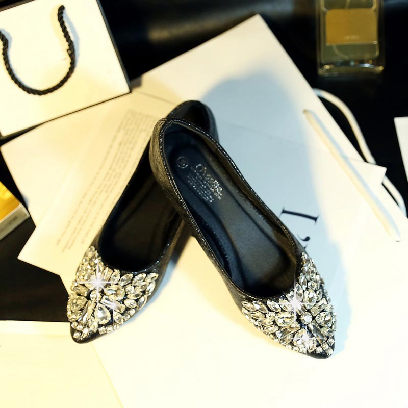 Spring New Beaded Rhinestone European Style Black Gold Pointed Toe Flats Big Size 40 Discount Sale Women Shoes - Shoes! store