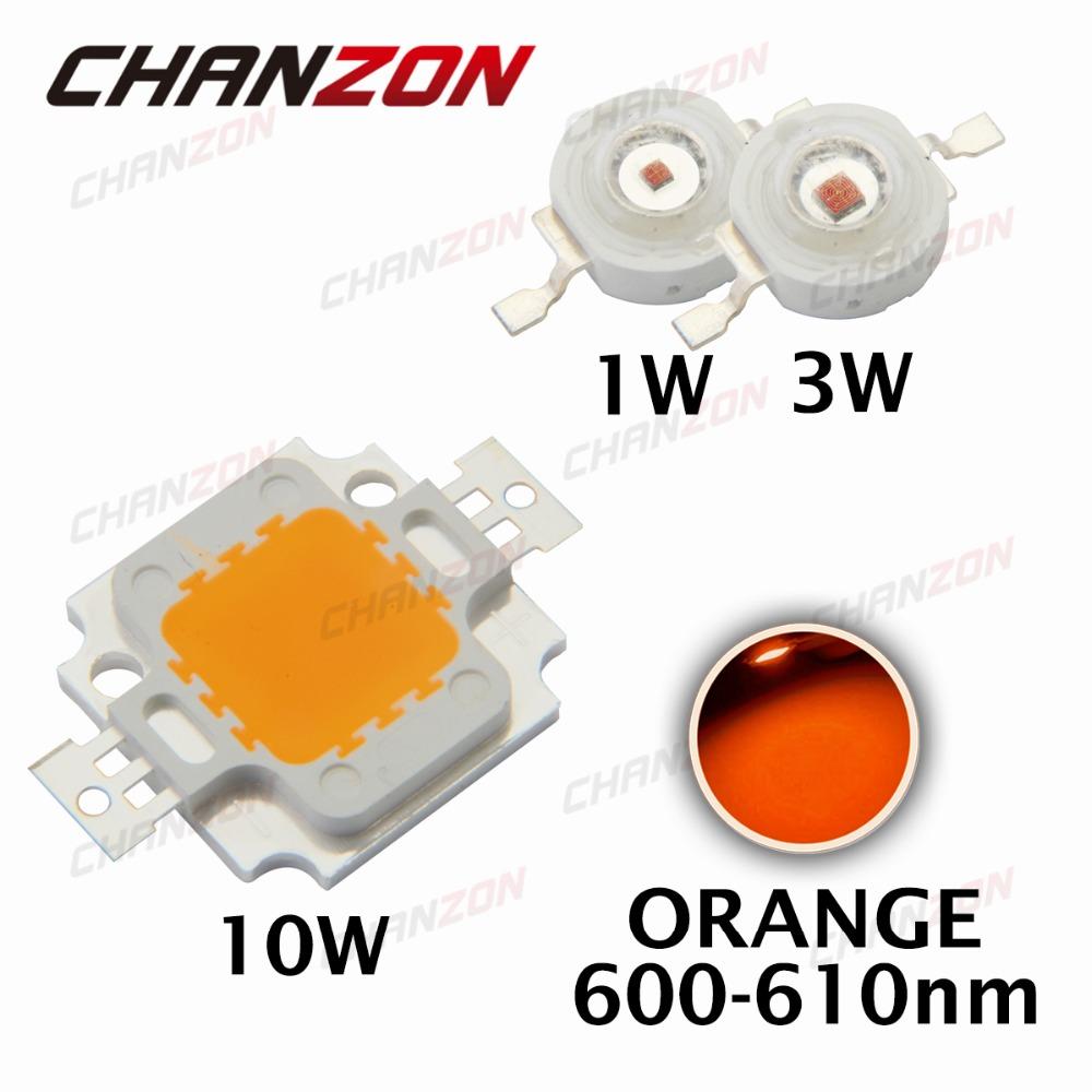 High Power LED Chip 1W 3W 10W COB LED Beads Bulb Light Lamp Orange Epistar 600nm - 605nm for DIY LED Floodlight Spot light(China (Mainland))