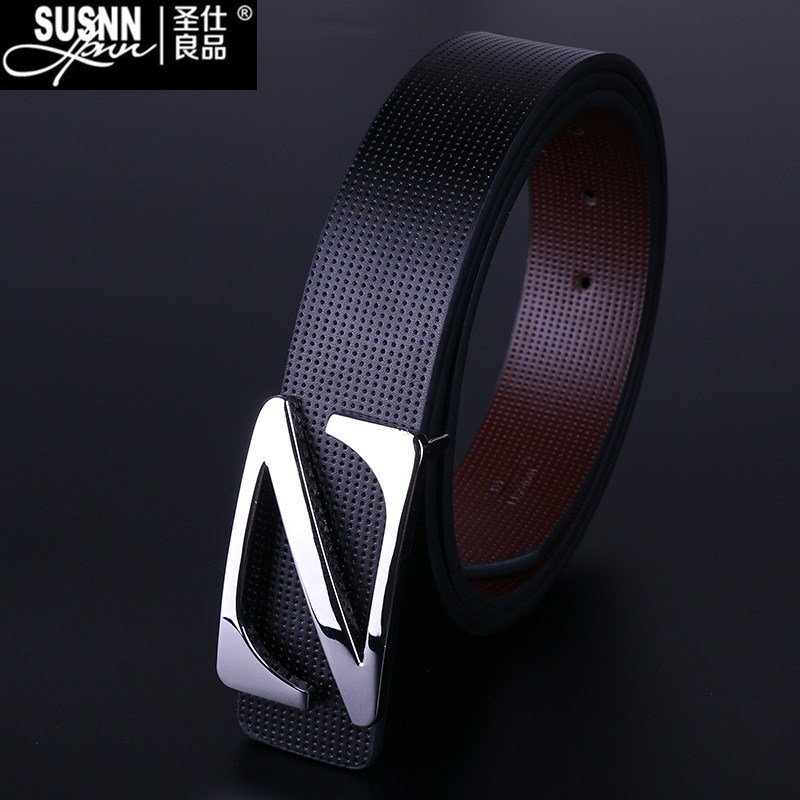 2016 New genuine Leather Good Quality business mens belt luxury Designer brand Buckle Male Belts For Men Jeans pants belts Susnn(China (Mainland))