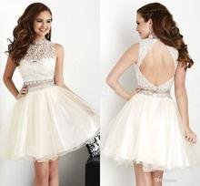 Sleeveless Homecoming Party Dresses Tulle lace Crystal Real Photos Stock Beading Little White Short Cocktail Dress C20167(China (Mainland))