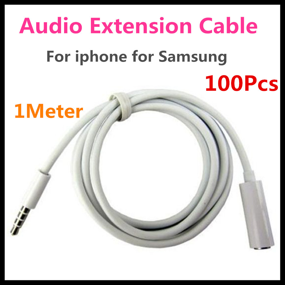 100Pcs/lot 3.5 mm Jack Male to Female Stereo Audio Extension Cable Adapter for iphone 6 5 4S ipod Mp3 for Samsung S4 S3