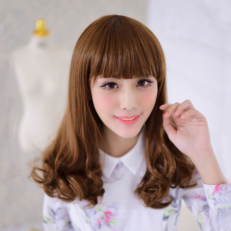 20inch Cheap Wigs New Style Rinka Haircut Womens Synthetic Long Wavy Curly Hair Wig With Full Bangs Heat Resistant Free Shipping<br><br>Aliexpress