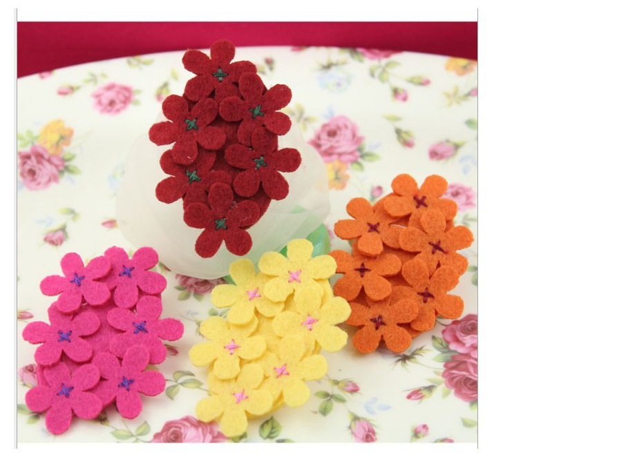 6.7cm handmade felt flower cluster with bow DIY Hair /shoe/bag/ brooch/headband accessories 6 colors D0079L(China (Mainland))