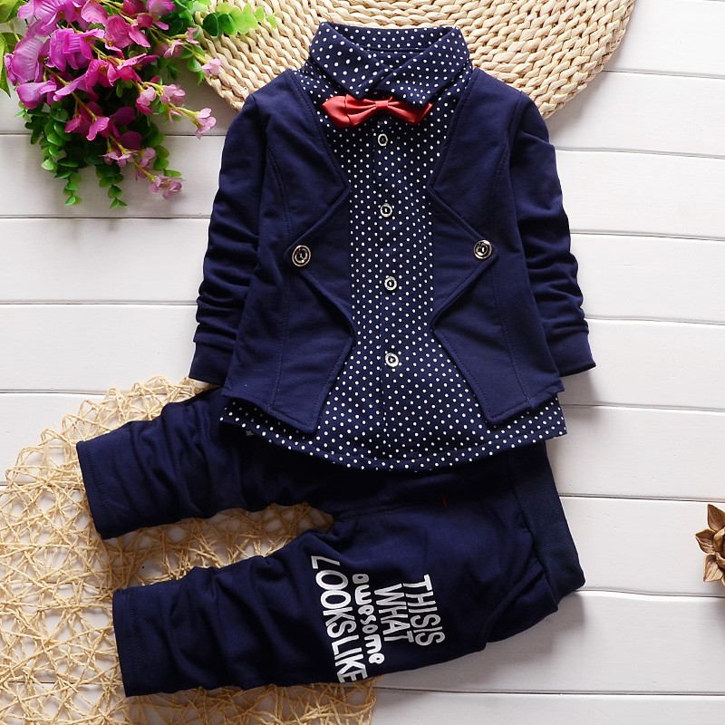 2016 fashion Spring gentleman style children clothing set baby boys clothing set fake three-pieces clothes kids outfits suit(China (Mainland))