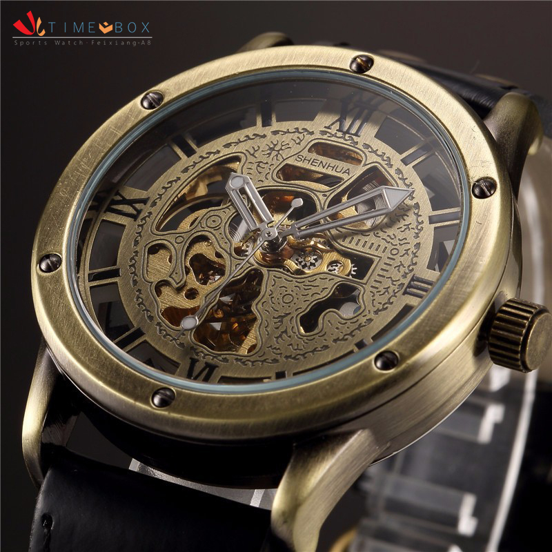 Skeleton Mechanical Wristwatches Men Automatic Self Wind Movt Leather Strap Vintage Clock Man New Fashion Clock Sports Watches(China (Mainland))