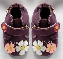 Guaranteed 100% soft soled Genuine Leather baby shoes pink flowers(China (Mainland))