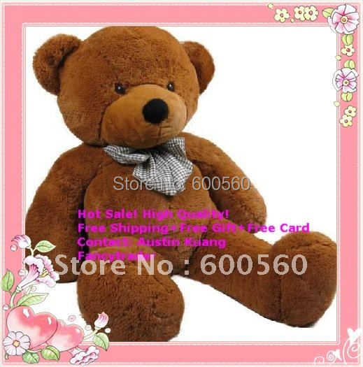 Fancytrader 71 INCHES (180cm) Classical Dark Brown Giant Plush Teddy Bear, Valentine Gift, plush bear, Free Shipping FT90057(China (Mainland))