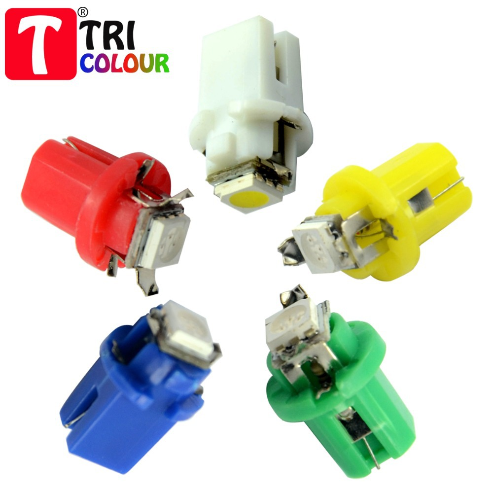 10X Car Instrument Lights LED Autolamps 1smd LED B8.5D SMD5050 12v white yellow red green blue #LH01(China (Mainland))