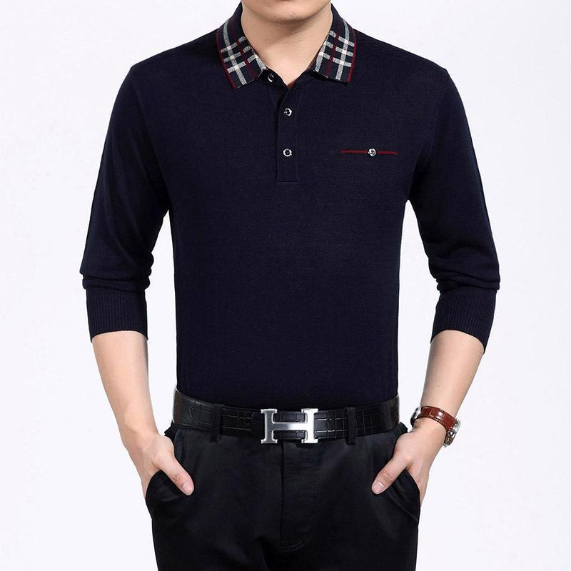 Long sleeve solid mens golf shirts silky cotton golf for Long sleeve polo golf shirts