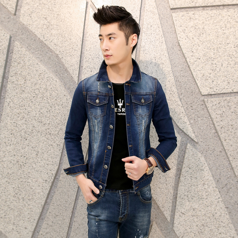 2015 male denim outerwear vintage casual jacket clothing n02p98(China (Mainland))