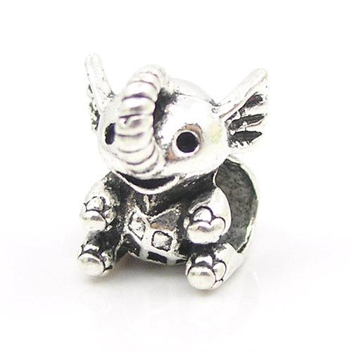 2015 New European Lovely Little Elephant Silver Alloy Bead Charm Fit Pandora Women DIY Bracelets Bangles
