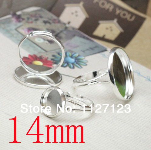 free shipping!!!!!100Pcs 14mm Silver plated bezel ring blanks with a cutout band, lead, Adjustable backs.(China (Mainland))