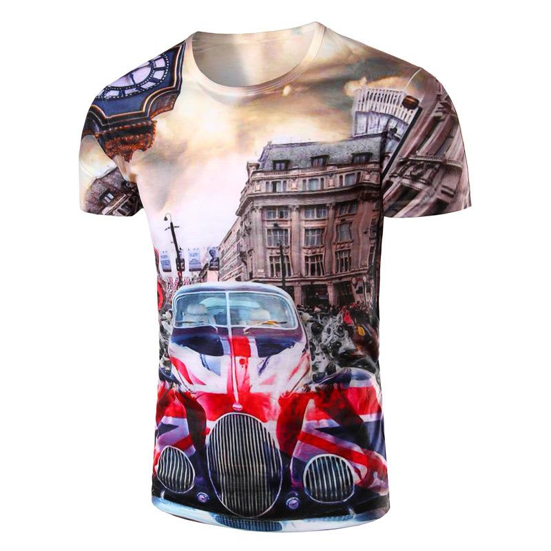 New Arrival Men Printing UK Flag Design T-shirt High Quality O Neck Casual T Shirt Short Sleeve Men classic cars Pattern Tops(China (Mainland))
