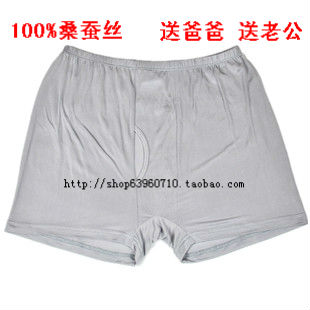 High quality mulberry silk panties knitted male Men boxer panties comfortable breathable 2(China (Mainland))
