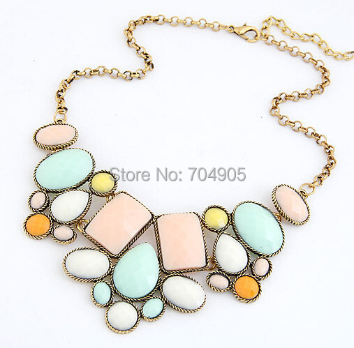 CHENXI 2014 New Fashion Jewelry Five Colors Geometric Polygon Good Quality Alloy Women Necklace - Olaru Store store