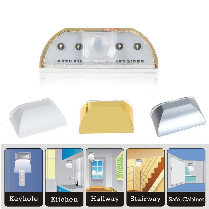 Auto PIR Door Keyhole Motion Sensor Detector LED Light Lamp Silver For 1*AA battery 4Leds Led Sensor Motion Lamp NightLight(China (Mainland))