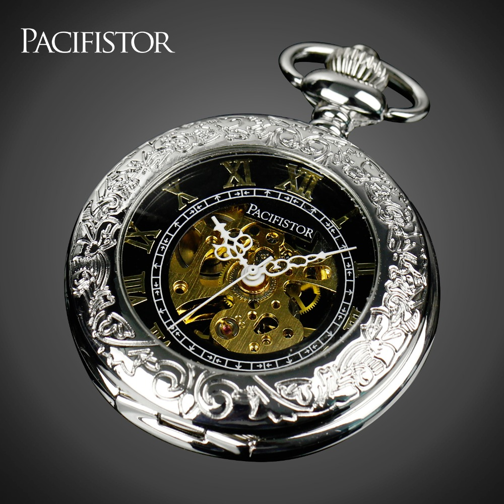 Pacifistor Mens Mechanical Skeleton Pocket Watches Vintage Reloj Bolsillo Necklace Watches Silver Chain Pendant Fob Watches(China (Mainland))