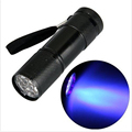 Mini Aluminum Portable UV Flashlight Violet Light 9 LED UV Torch Light Lamp Flashlight