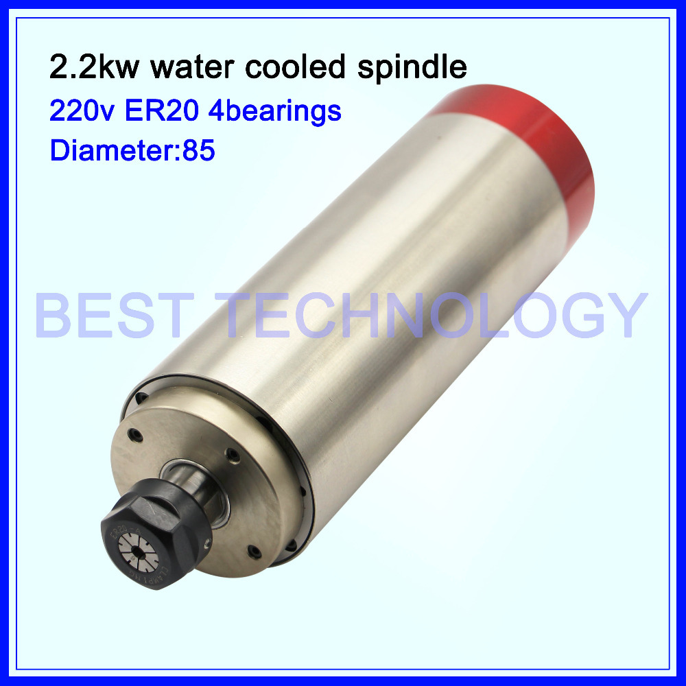 ER20 2.2KW cnc spindle motor Water-Cooled Spindle Motor woodworking spindle 220V AC 85x235mm 4pcs bearings High Speed(China (Mainland))
