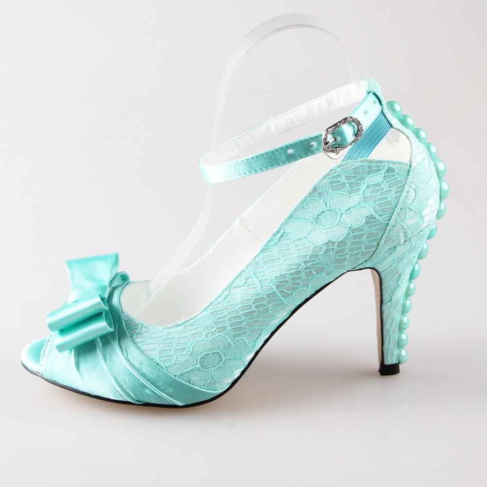 handmade light mint green lace satin bow heel wedding