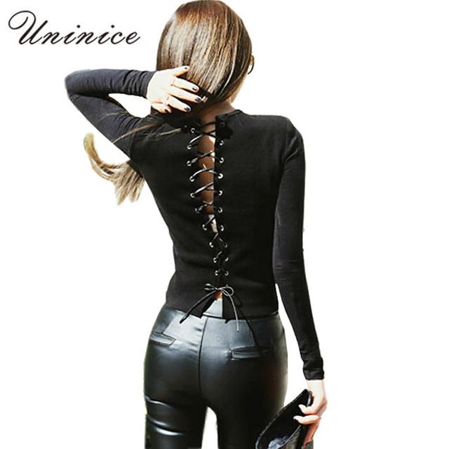 Sexy back повязку рубашка 2016 тонкий трикотажные рубашки мода черный сращивания полный рукав футболки выдалбливают тонкий трикотаж женщины топы