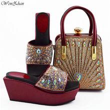 Excelentes Sapatos Italianos com Saco de Harmonização Mais Novo Royalblue Africano Nigéria Sapatos e Bolsa Set para Festas 38-42 WENZHAN b95-22(China)