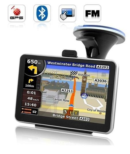 free shipping 5 inch Car GPS Navigator with Bluetooth FM MP3 AV-IN 4GB load 3D Map
