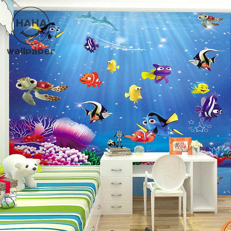 Free shipping 3d cartoon children 39 s room bedroom wallpaper for Cartoon mural wallpaper
