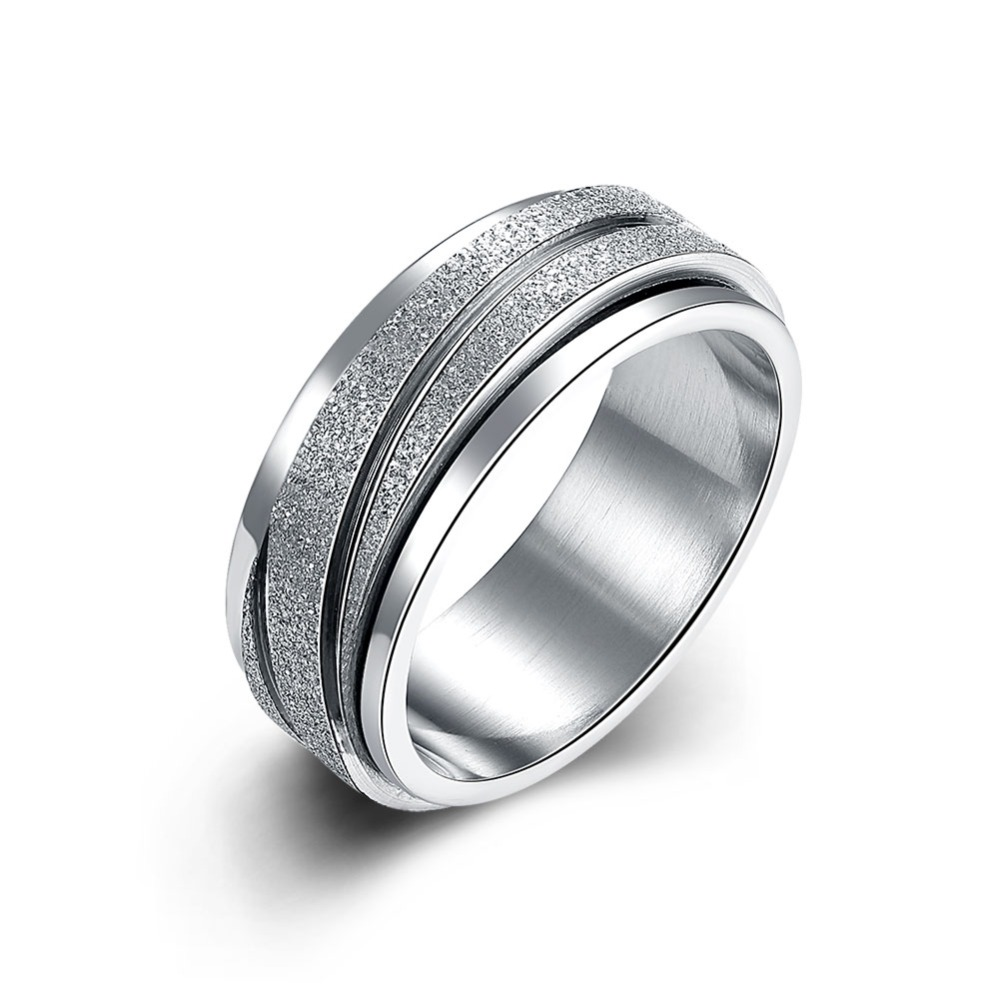 titanium band brushed wedding stainless steel solid ring