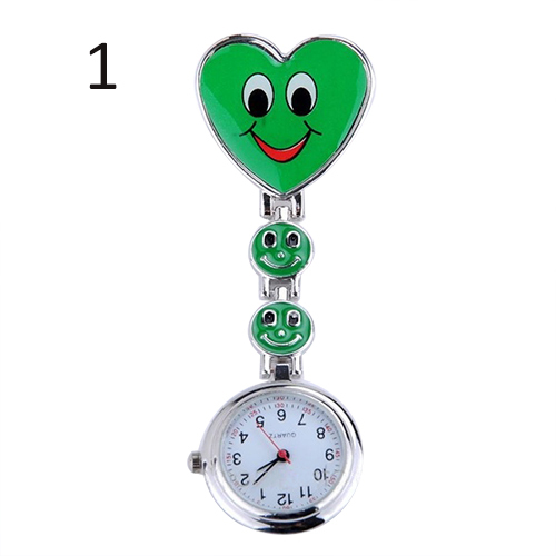 2015 Hot Kid s Smiling Faces Heart Clip On Pendant Nurse Fob Brooch Cute Pocket Watches