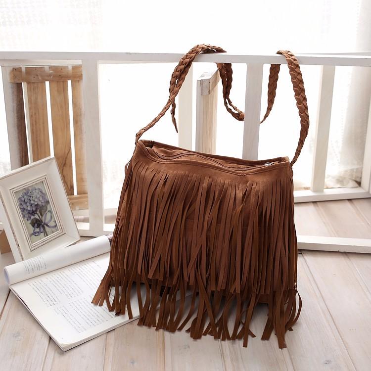 Hippie Suede Fringe Tassel Messenger Bag Women Hobo Shoulder Bags Crossbody Handbag (13)