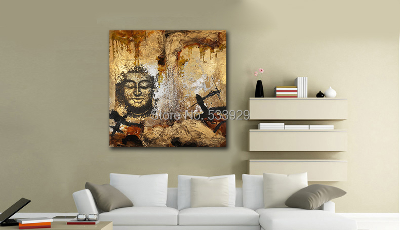 Free shipping Abstract Figure Buddha Hand Painted Oil Painting On Canvas TDS-CX211---60x60cm(China (Mainland))