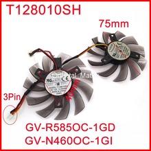 2pcs/Lot EVERFLOW T128010SH DC12V 0.25A For Gigabyte GV-R585OC-1GD GV-N460OC-1GI Graphics Card Cooling Fan