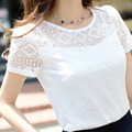 2 Colors Women Bottoming Blouse Polyester Slim White Black Short sleeved Round Neck Shirt Openwork Lace