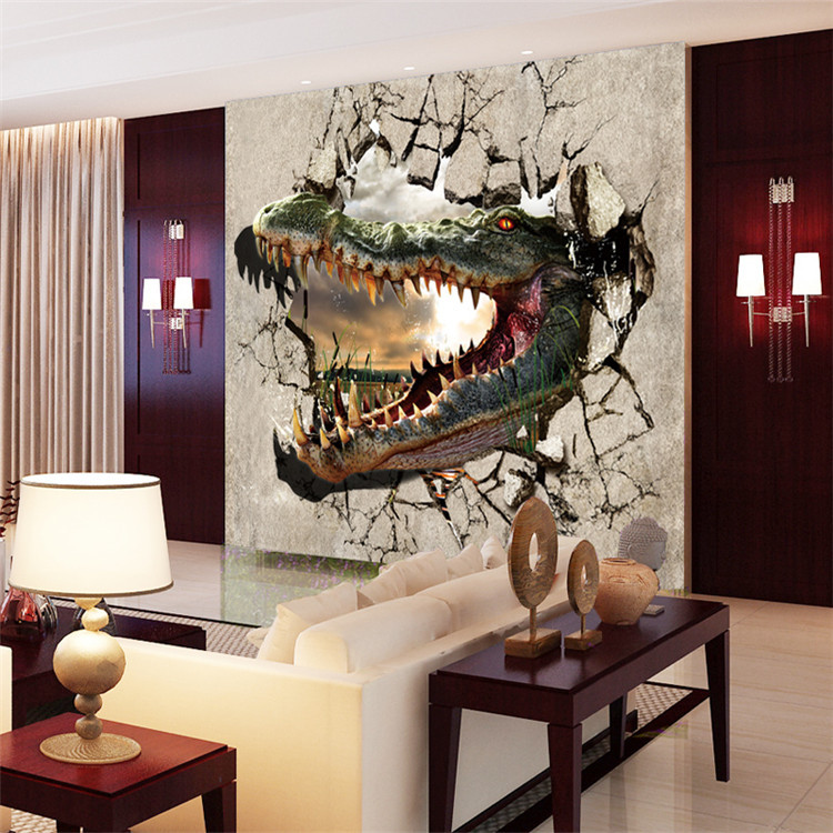 Acheter 3d photo papier peint la violence crocodile grande fr - Grande decoration murale ...