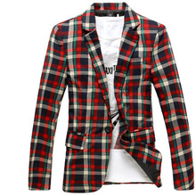 Hot Sell Fashion Men Blazer Slim Tartan High Quality Lattice Blazers Men Casual Single button Blazer Sell Well Outwear Tops New
