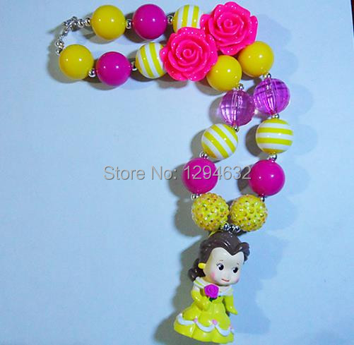 2pcs/lot cheap sale children chunky necklace jewelry!baby girls gumball belle princess pendants necklace!!(China (Mainland))