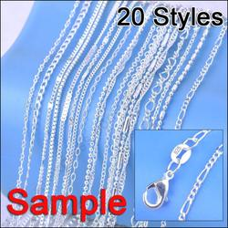 """JEXXI Jewelry Sample Order 20Pcs Mix 20 Styles 18"""" Genuine 925 Sterling Silver Link Necklace Set Chains+Lobster Clasps 925 Tag"""