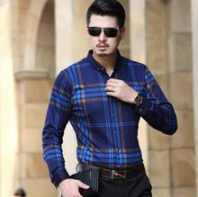 2016 winter new men long-sleeved shirts, business leisure plaid striped shirt, mens cotton easy-care Fashion square collar Dress(China (Mainland))