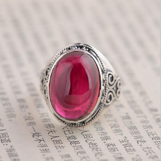 100% S925 Sterling Silver Vintage Ring with Natural Red Corundum Ruby Stone Cabochon Classical Ethnic Silver Ruby Open Ring(China (Mainland))