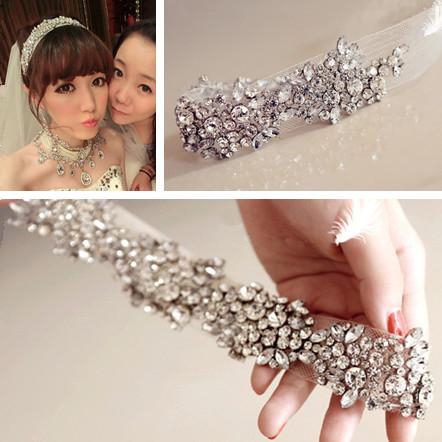 New Fashion Hair Accessories for Women Crystal Jewelry Mesh Yarn Bridal Headband HB052(China (Mainland))