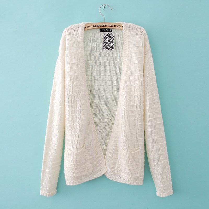 Ladies White Cardigan With Pockets - Cashmere Sweater England