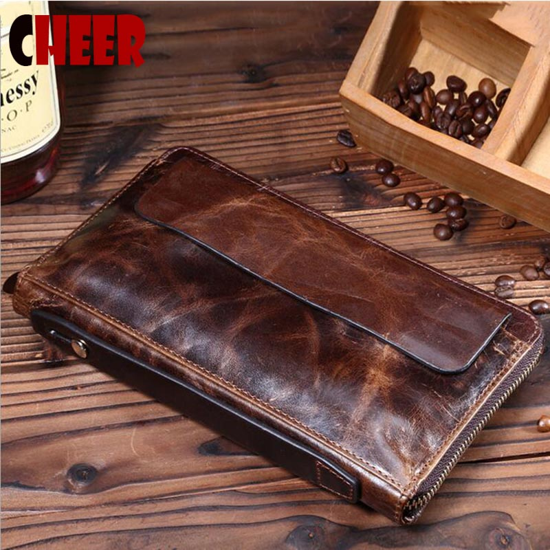 New design fashion genuine leather clutch bags oil Wax paper business men wallets casual multi card holder vintage purses(China (Mainland))